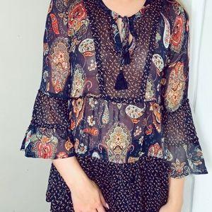 paisley, semi sheer blouse- size small